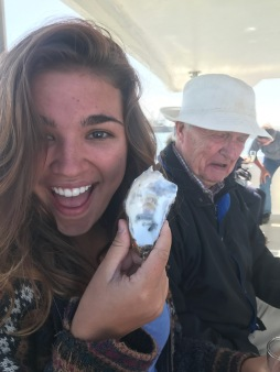 Tried my first oyster on the cruise. My smile is a lie.